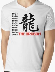 Chinese Zodiac Dragon Mens V-Neck T-Shirt