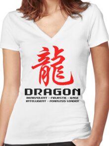 Chinese Zodiac Dragon Characteristics  Women's Fitted V-Neck T-Shirt
