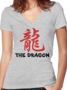 Chinese Zodiac Dragon Women's Fitted V-Neck T-Shirt