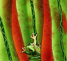 Verticals - Tree Frog and Water Drops by SGodsey