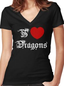 I Love Dragons Women's Fitted V-Neck T-Shirt
