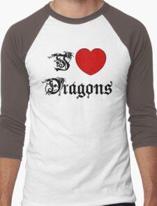 I Love Dragons Men's Baseball ¾ T-Shirt