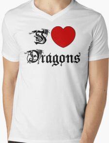 I Love Dragons Mens V-Neck T-Shirt