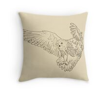 Owl hand drawn Throw Pillow