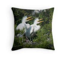 Young Great Egrets call out from nest Throw Pillow