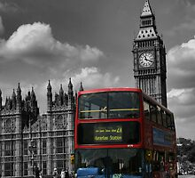 Double Decker at Big Ben, London, England by Allen Lucas