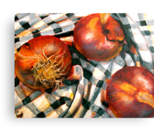 Black and White and Red Onions Metal Print