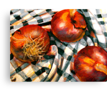 Black and White and Red Onions Canvas Print