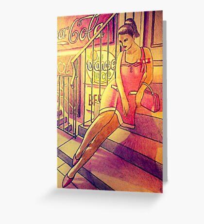 50s pinup Greeting Card
