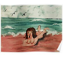 Opps, the water is freezing! watercolor Poster