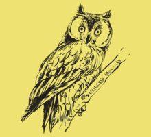 Owl hand drawn One Piece - Short Sleeve