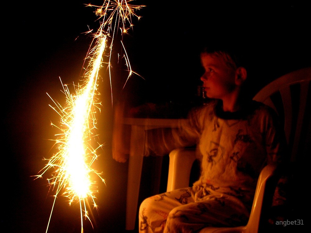 Child and Sparkler by angbet31