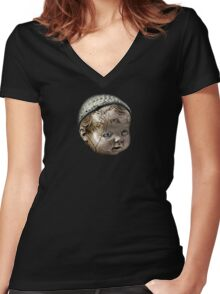 Creepy Doll Head Women's Fitted V-Neck T-Shirt