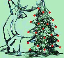 Reindeer Tree Christmas Card by Dawn B Davies-McIninch