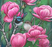 """""""Superb Blue Wren Couple with Magnolias"""" by Jules Summers"""