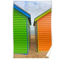 Bathing Boxes on Dendy Beach, Melbourne Poster