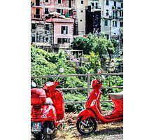 2 Red Scooters Photographic Print