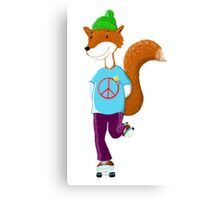 Groovy Rollerskating Fox Canvas Print