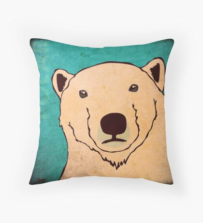 Polar Bear (Rustic) Throw Pillow