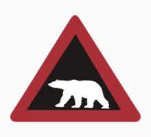 Beware of Polar Bears, Traffic Sign, Norway Kids Tee