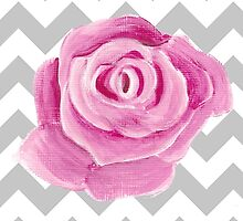 pink rose on grey chevron by Wendy Massey