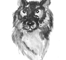 Hand drawn water color illustration of german shepherd by TrishaMcmillan