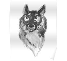 Hand drawn water color illustration of german shepherd Poster