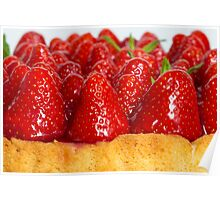 Strawberry cake with mint macro closeup Poster