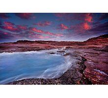 Where the red rocks meet the blue ocean, Kalbarri, Western Australia Photographic Print