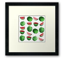 Hand drawn water color seamless pattern of water melons. Framed Print