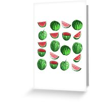 Hand drawn water color seamless pattern of water melons. Greeting Card
