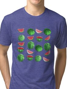 Hand drawn water color seamless pattern of water melons. Tri-blend T-Shirt