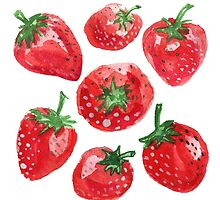 Hand drawn water color painting strawberries. by TrishaMcmillan