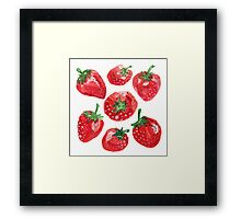 Hand drawn water color painting strawberries. Framed Print