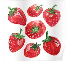Hand drawn water color painting strawberries. Poster