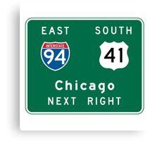 Chicago, IL Road Sign Canvas Print