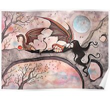 """Winds of Autumn"" Fairy and Dragon  Poster"