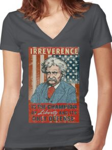 Mark Twain Irreverence & Liberty Women's Fitted V-Neck T-Shirt