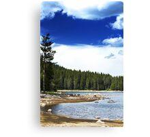 lake and deep blue sky Canvas Print