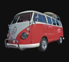 Orange Volkswagen Kombi with surfboard. Baby Tee