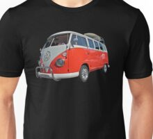 Orange Volkswagen Kombi with surfboard. Unisex T-Shirt