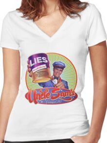 Government Lies Women's Fitted V-Neck T-Shirt