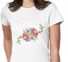 'Irish Rose' embroidery Womens Fitted T-Shirt