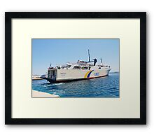 Proteus ferry docking, Alonissos Framed Print