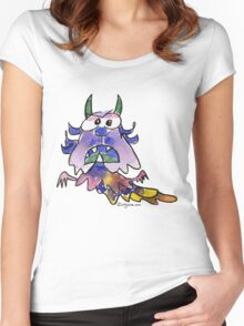 Funny Cartoon Monstar Monster 037 Women's Fitted Scoop T-Shirt