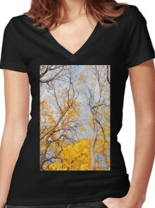Yellow autumn leaves on trees  Women's Fitted V-Neck T-Shirt