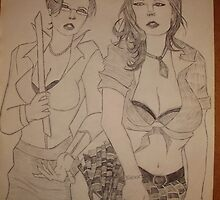 A SKETCH OF TWO WOMEN FROM ( HEAVY METAL MAGAZINE ) DONE IN ART SCHOOL by TSykes
