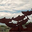 Salmon Sculpture At The Beach by 2HivelysArt
