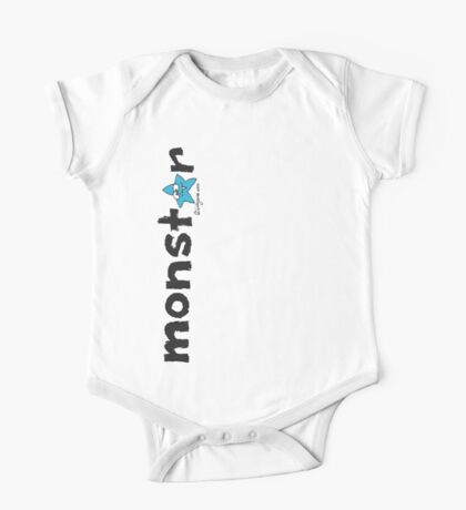 Monster Blue Star Text Graphic  One Piece - Short Sleeve