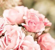 Vintage roses bouquet sepia toned by Arletta Cwalina